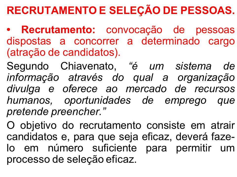 RECRUTAMENTO E SELEÇÃO DE PESSOAS.