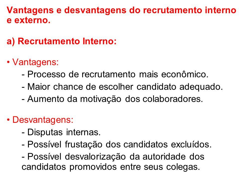 Vantagens e desvantagens do recrutamento interno e externo.