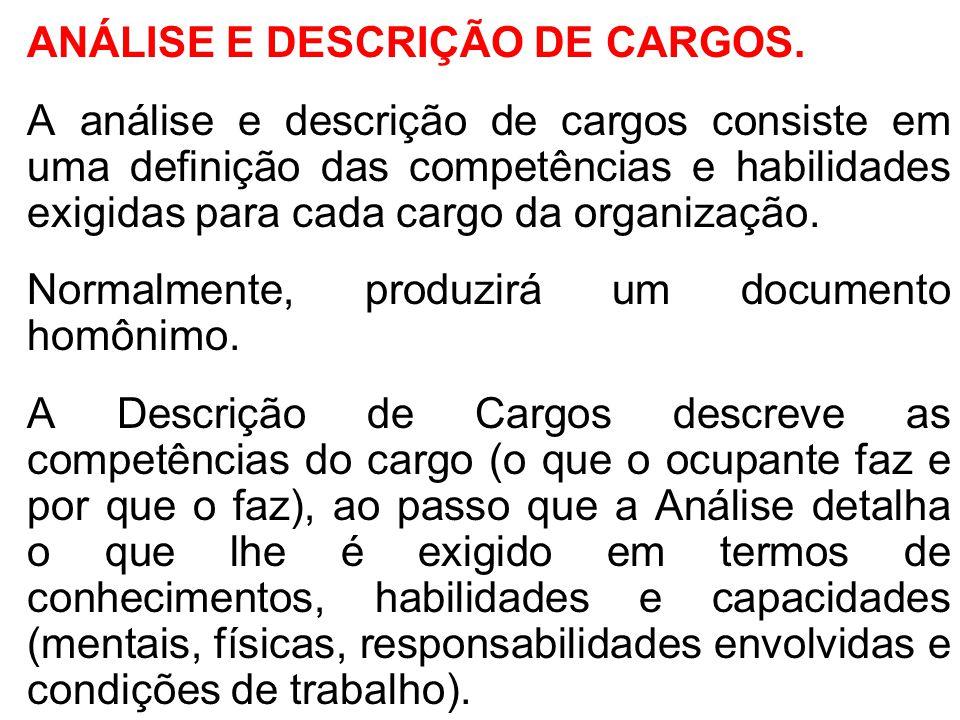 ANÁLISE E DESCRIÇÃO DE CARGOS.