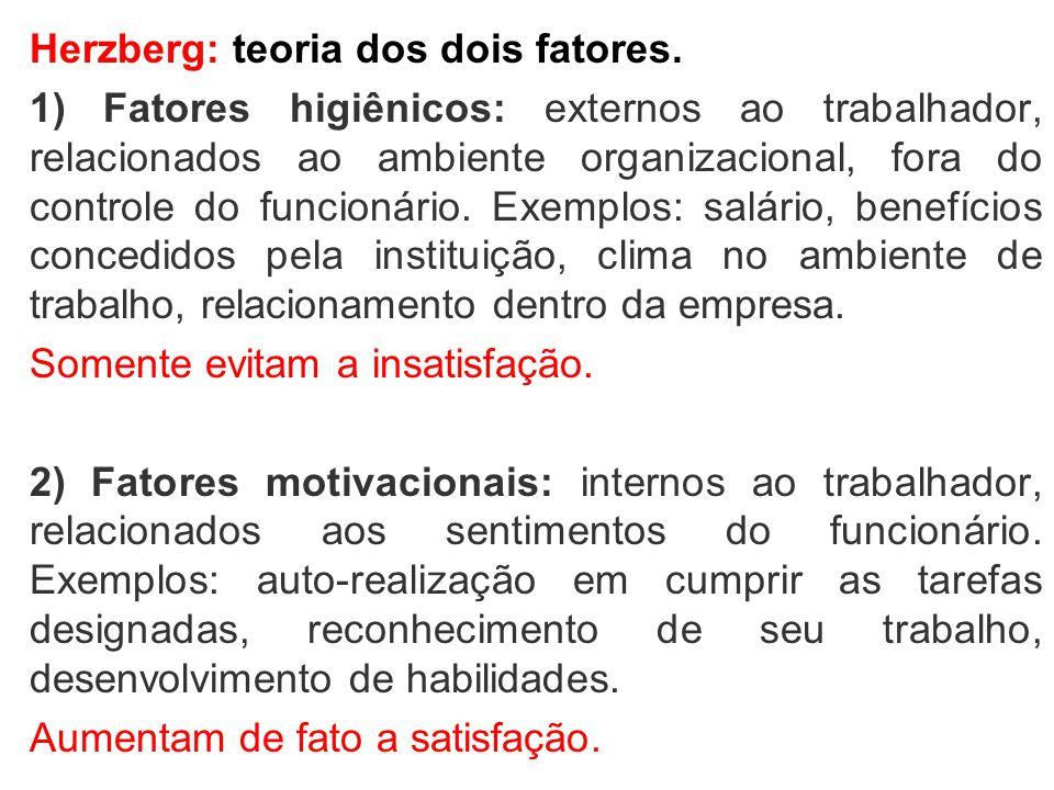 Herzberg: teoria dos dois fatores.