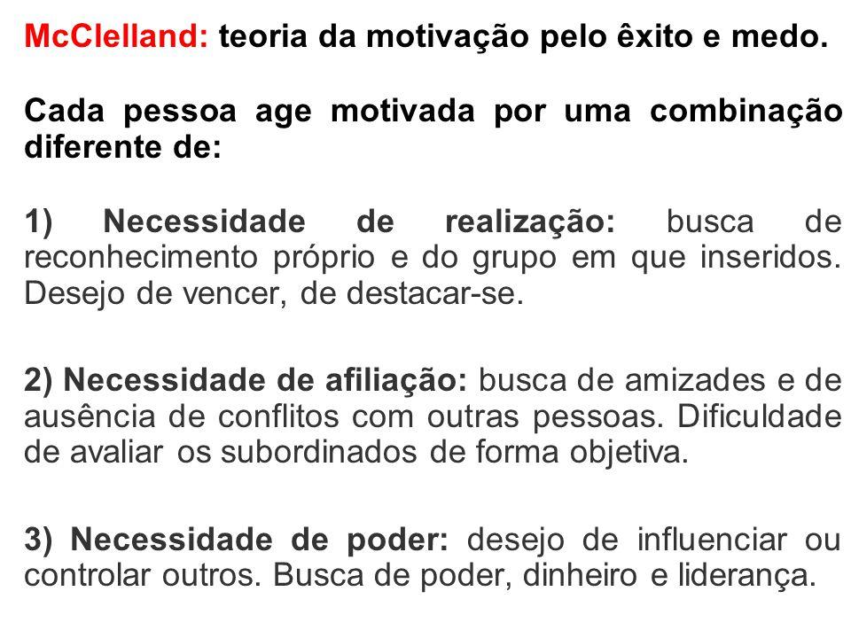 McClelland: teoria da motivação pelo êxito e medo.