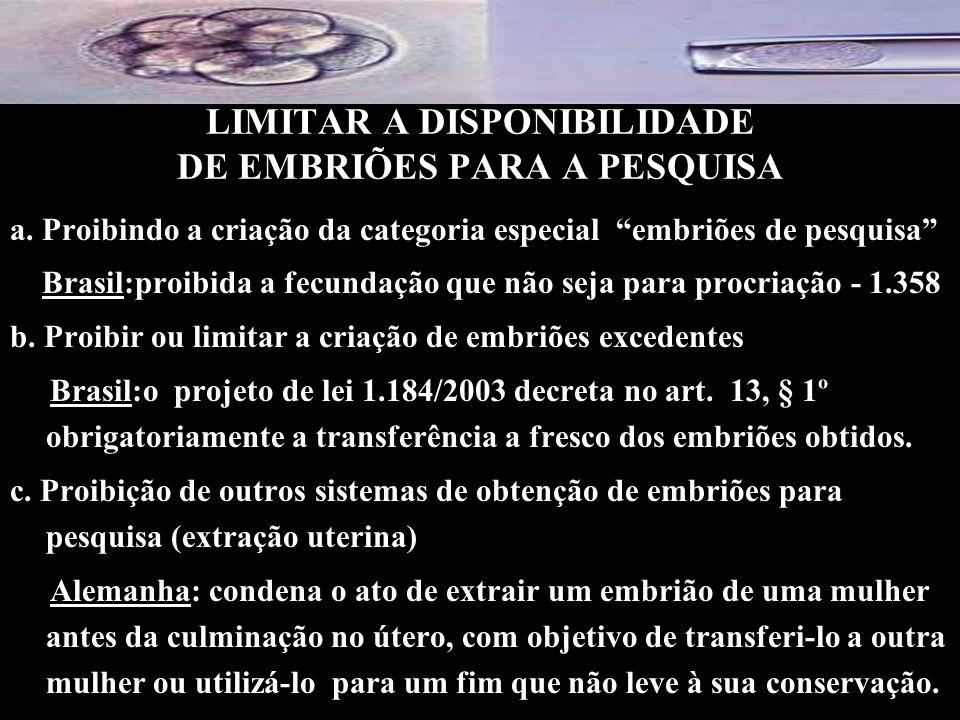 LIMITAR A DISPONIBILIDADE DE EMBRIÕES PARA A PESQUISA
