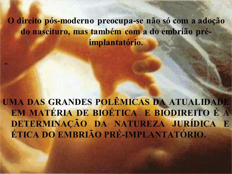 O direito pós-moderno preocupa-se não só com a adoção do nascituro, mas também com a do embrião pré-implantatório.