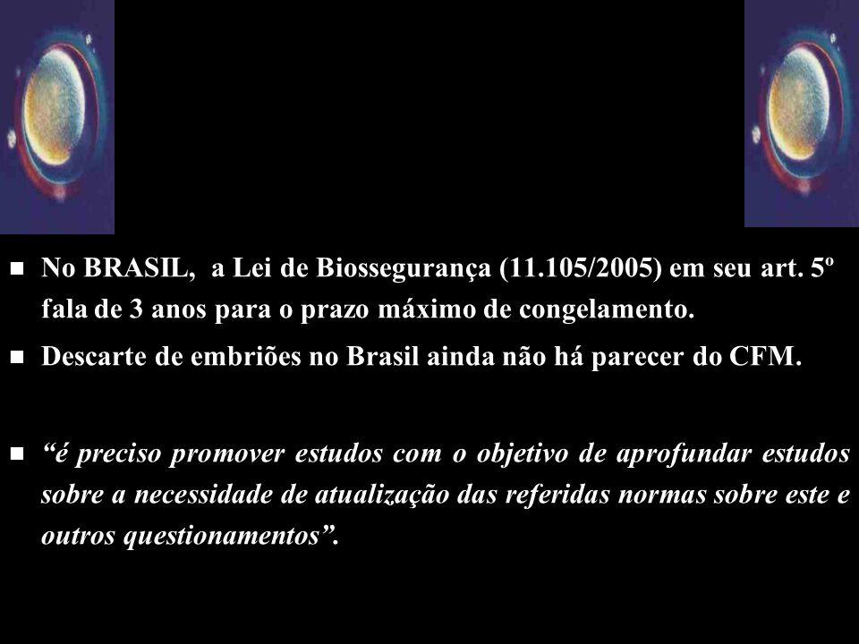 No BRASIL, a Lei de Biossegurança (11. 105/2005) em seu art