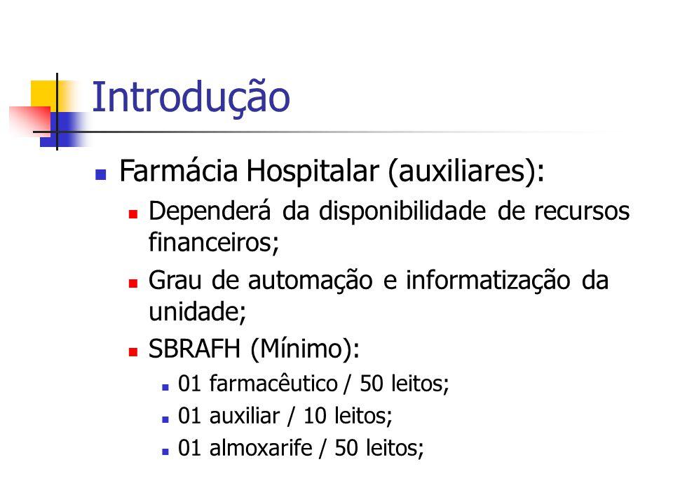 Introdução Farmácia Hospitalar (auxiliares):