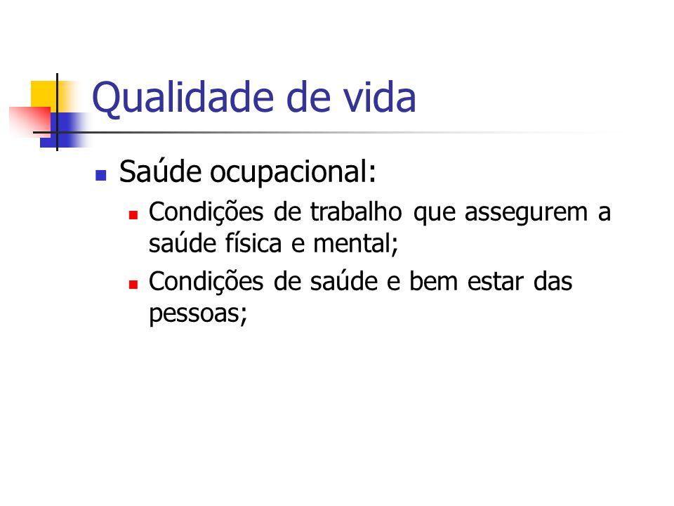 Qualidade de vida Saúde ocupacional:
