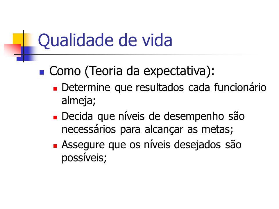 Qualidade de vida Como (Teoria da expectativa):