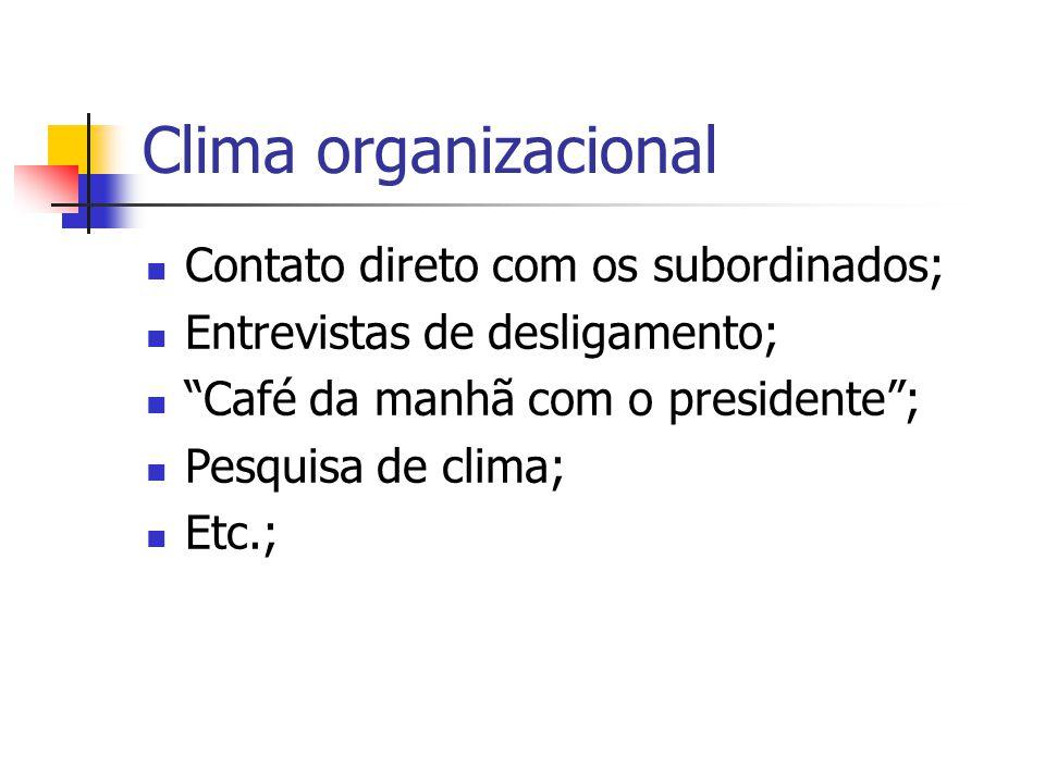 Clima organizacional Contato direto com os subordinados;