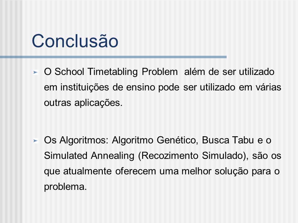 Conclusão O School Timetabling Problem além de ser utilizado em instituições de ensino pode ser utilizado em várias outras aplicações.