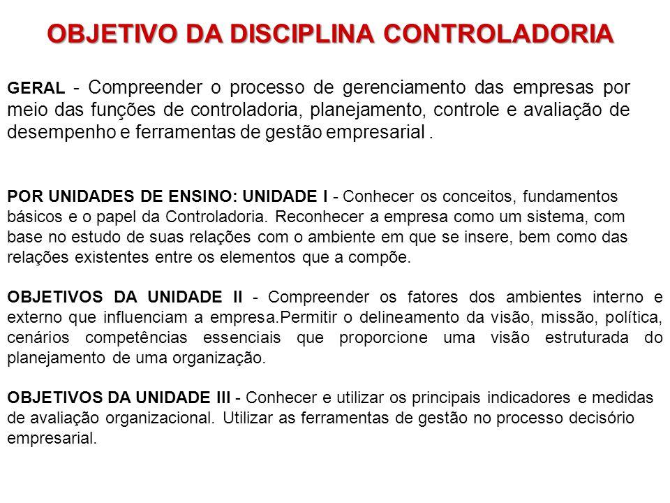 OBJETIVO DA DISCIPLINA CONTROLADORIA