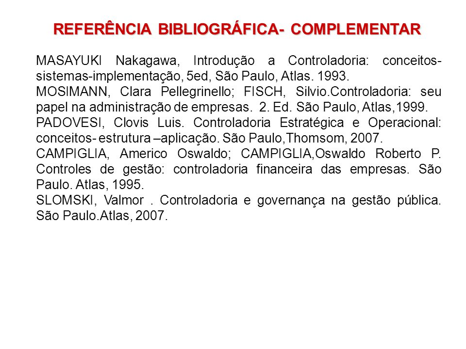 REFERÊNCIA BIBLIOGRÁFICA- COMPLEMENTAR
