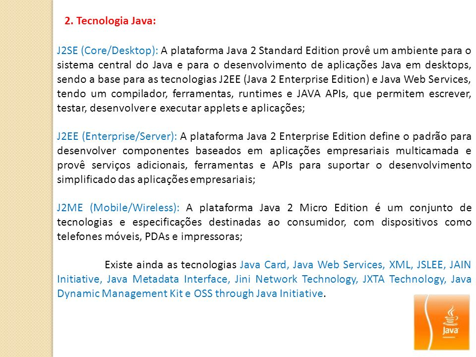 2. Tecnologia Java: