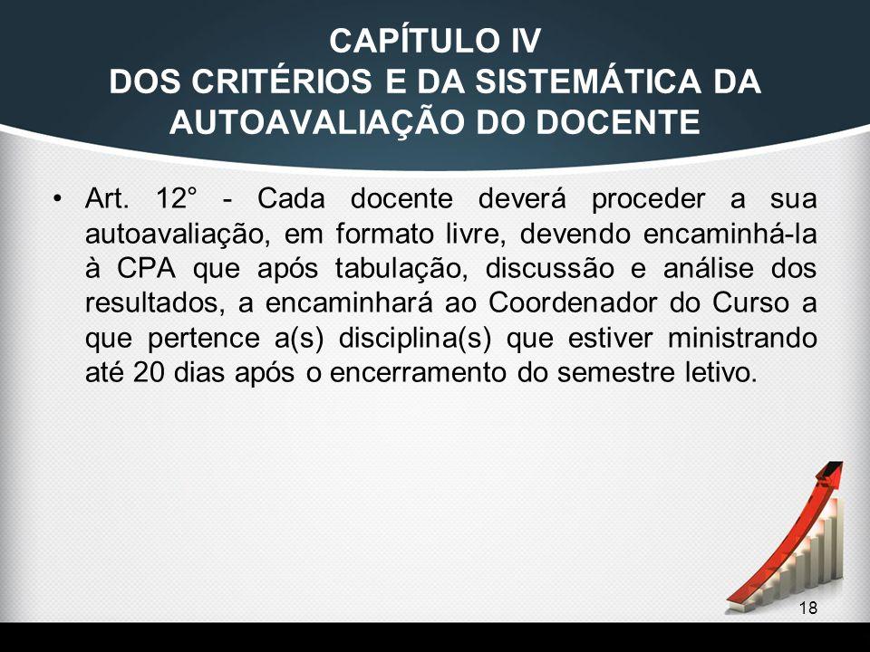 CAPÍTULO IV DOS CRITÉRIOS E DA SISTEMÁTICA DA AUTOAVALIAÇÃO DO DOCENTE