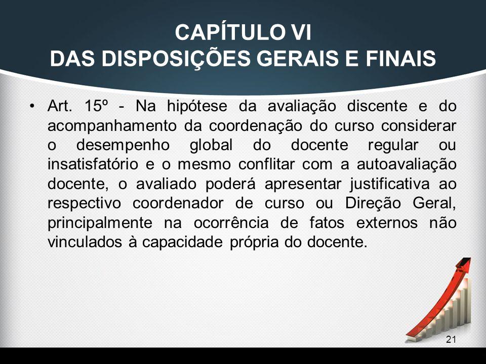 CAPÍTULO VI DAS DISPOSIÇÕES GERAIS E FINAIS