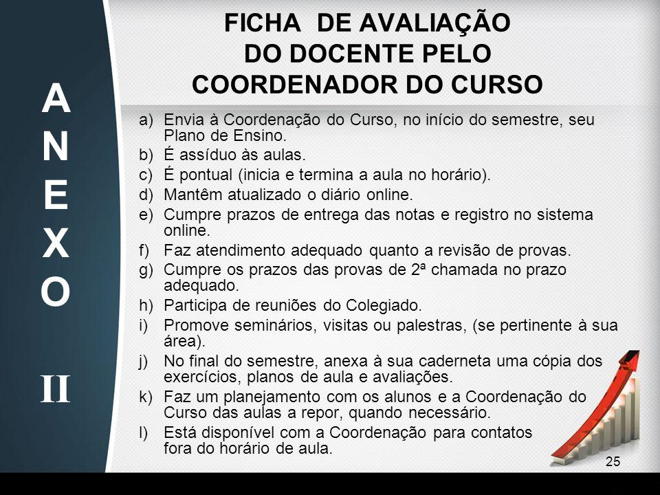 FICHA DE AVALIAÇÃO DO DOCENTE PELO COORDENADOR DO CURSO