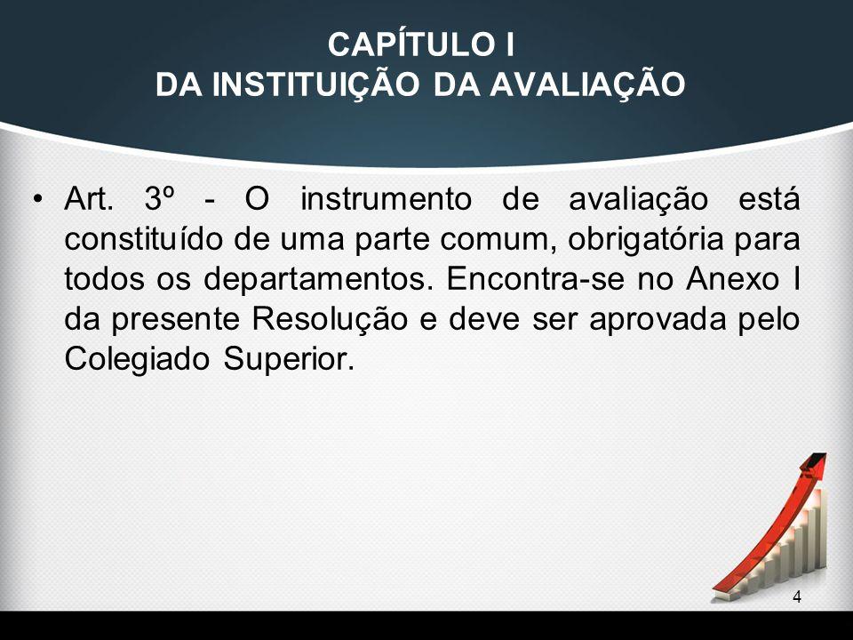 CAPÍTULO I DA INSTITUIÇÃO DA AVALIAÇÃO