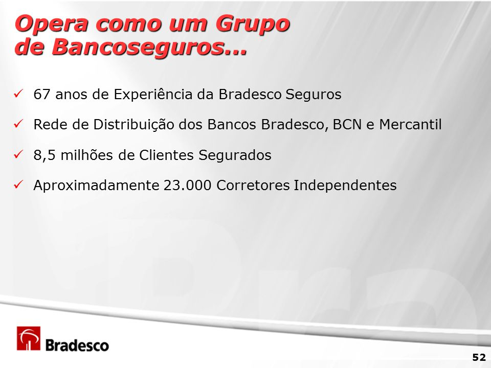 Opera como um Grupo de Bancoseguros...