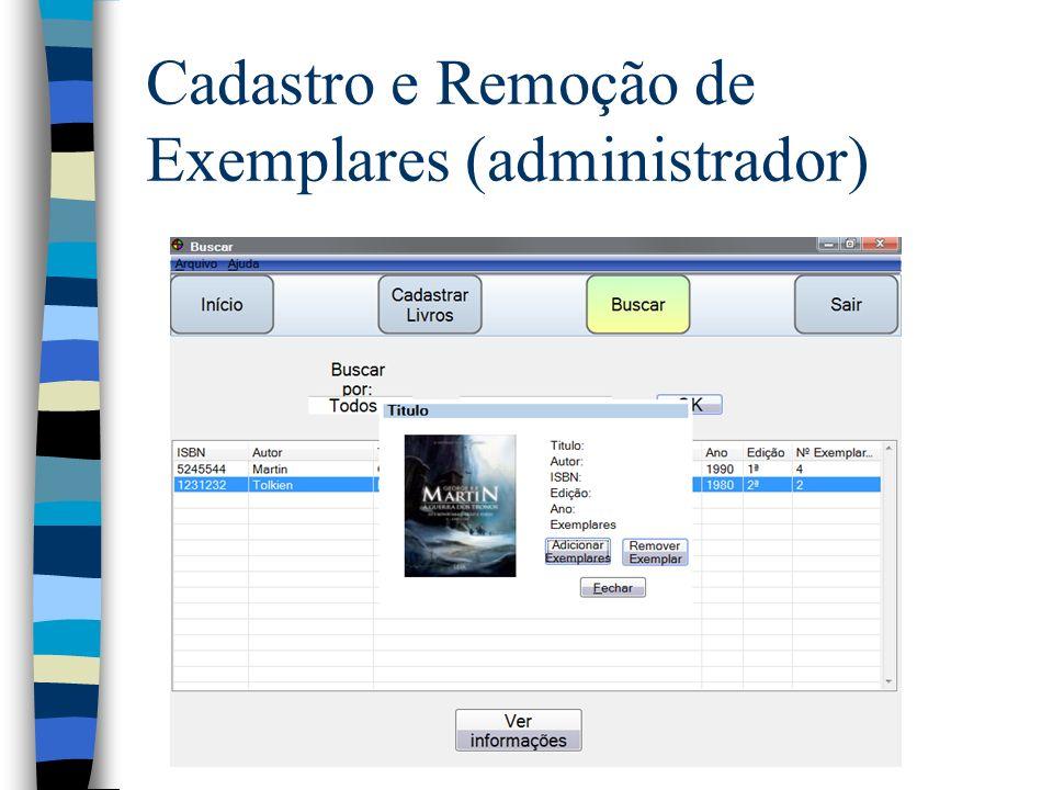 Cadastro e Remoção de Exemplares (administrador)