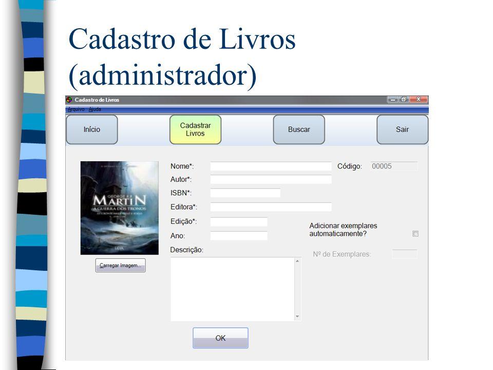 Cadastro de Livros (administrador)