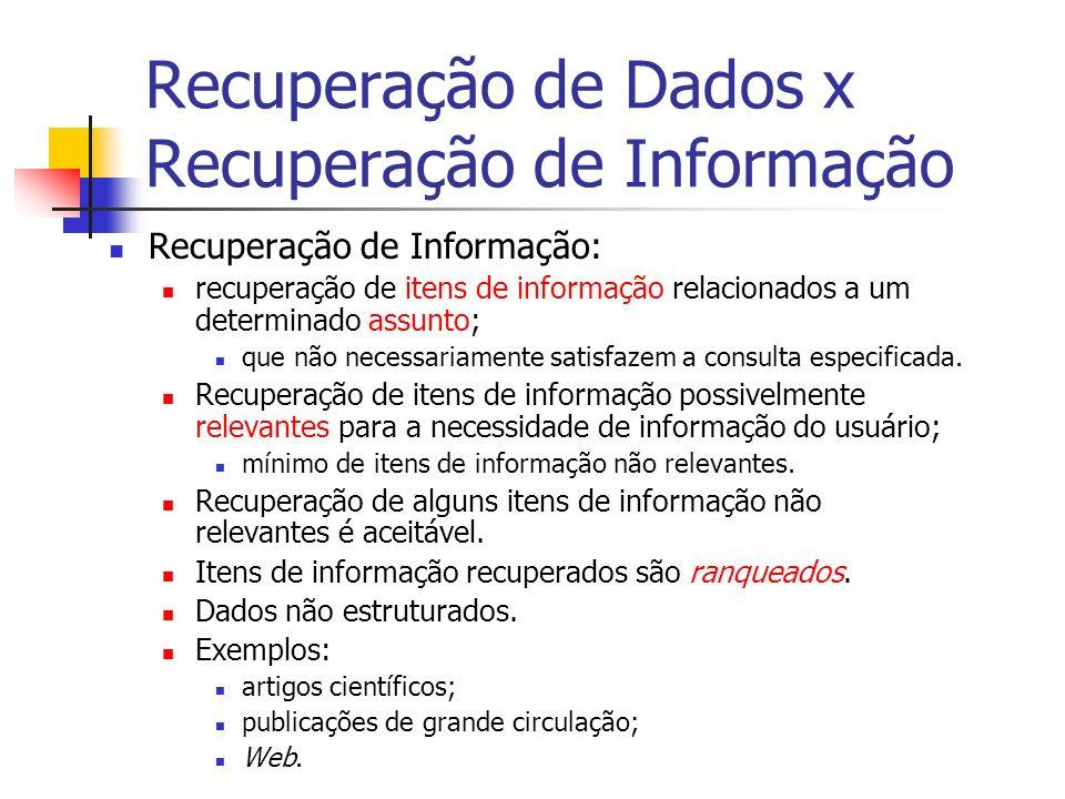 Recuperação de Dados x Recuperação de Informação