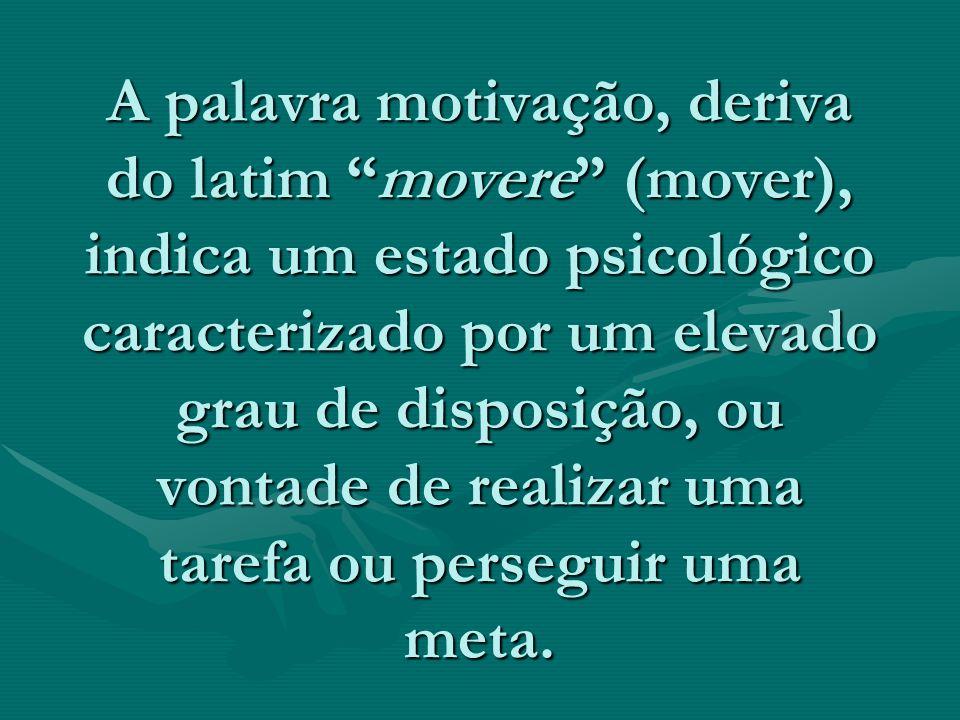 A palavra motivação, deriva do latim movere (mover), indica um estado psicológico caracterizado por um elevado grau de disposição, ou vontade de realizar uma tarefa ou perseguir uma meta.