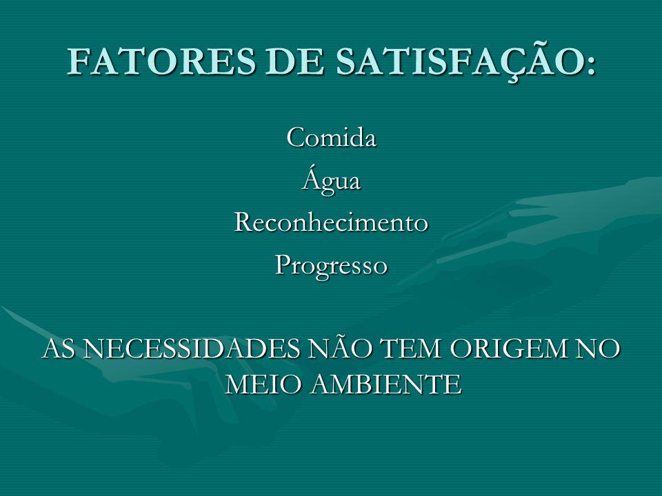 FATORES DE SATISFAÇÃO: