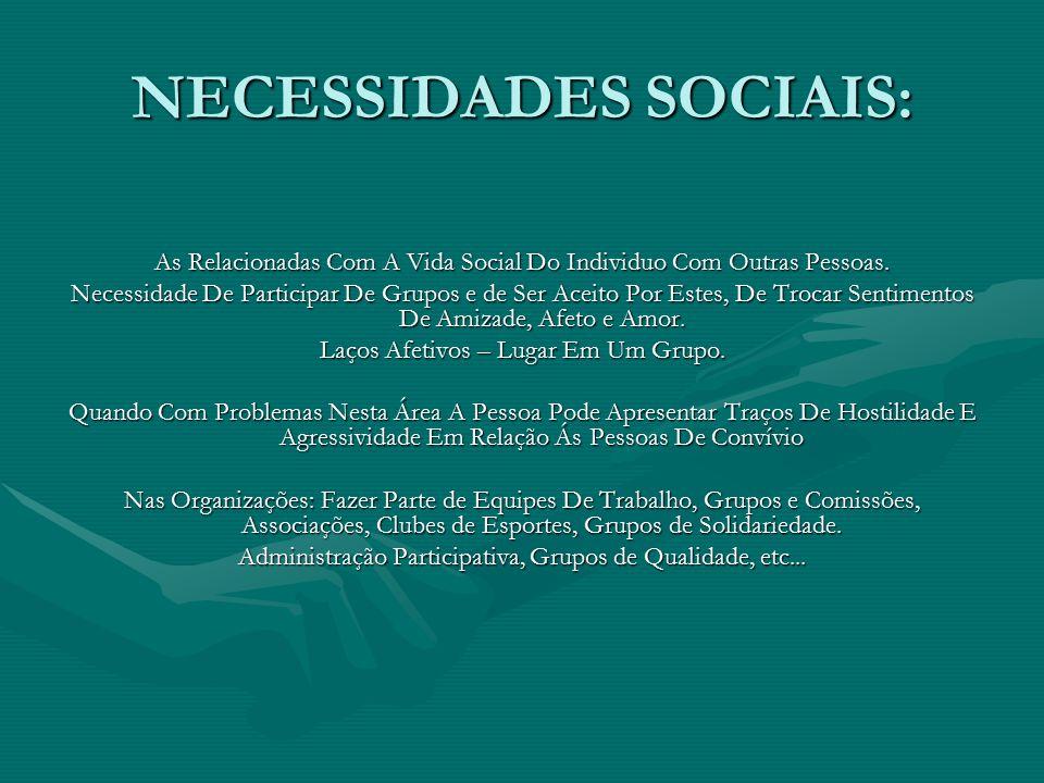 NECESSIDADES SOCIAIS: