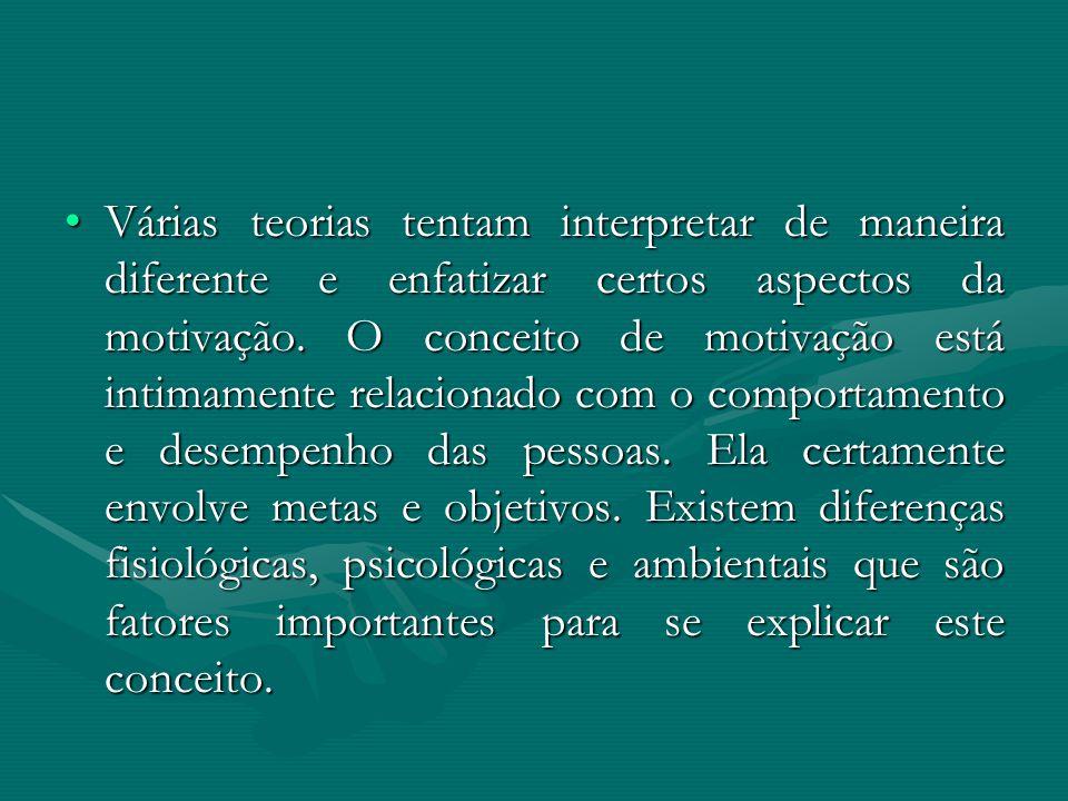 Várias teorias tentam interpretar de maneira diferente e enfatizar certos aspectos da motivação.