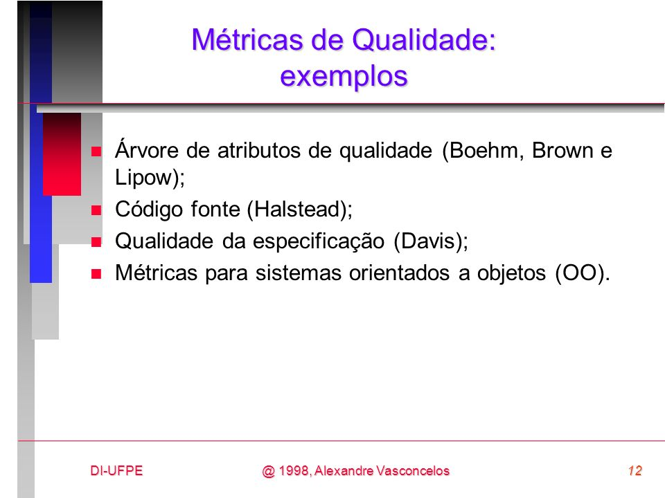 Métricas de Qualidade: exemplos