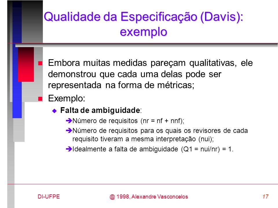 Qualidade da Especificação (Davis): exemplo