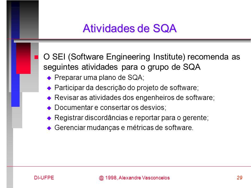 Atividades de SQA O SEI (Software Engineering Institute) recomenda as seguintes atividades para o grupo de SQA.