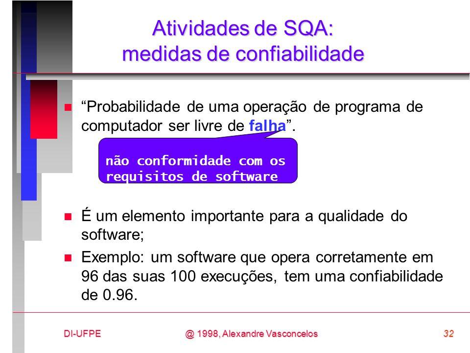 Atividades de SQA: medidas de confiabilidade