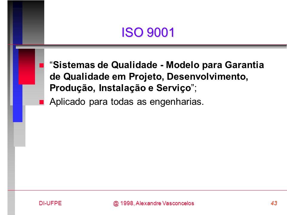 ISO 9001 Sistemas de Qualidade - Modelo para Garantia de Qualidade em Projeto, Desenvolvimento, Produção, Instalação e Serviço ;