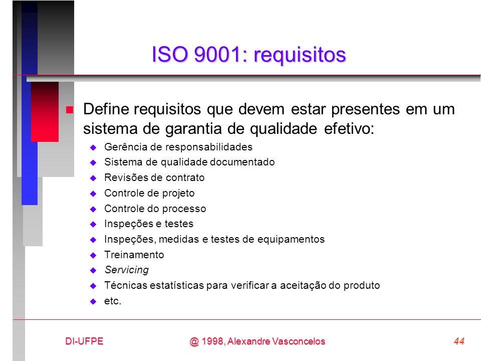 ISO 9001: requisitos Define requisitos que devem estar presentes em um sistema de garantia de qualidade efetivo: