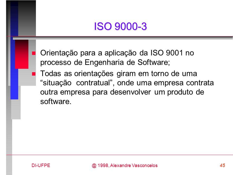 ISO 9000-3 Orientação para a aplicação da ISO 9001 no processo de Engenharia de Software;