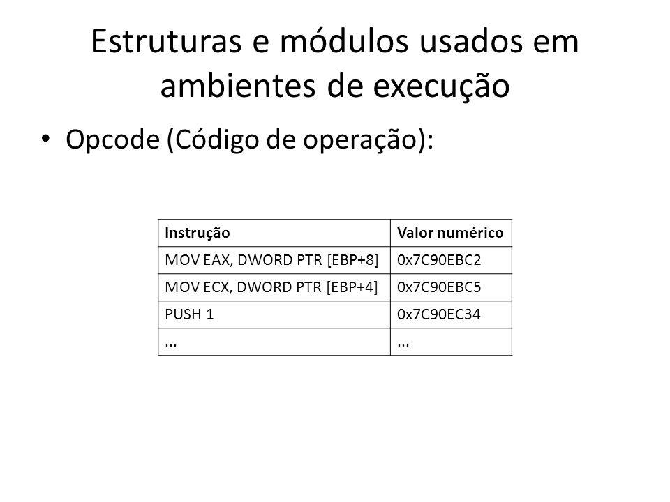 Estruturas e módulos usados em ambientes de execução