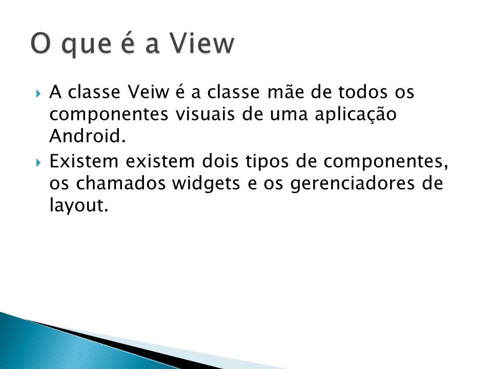 O que é a View A classe Veiw é a classe mãe de todos os componentes visuais de uma aplicação Android.