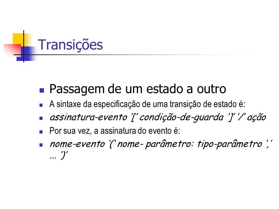 Transições Passagem de um estado a outro