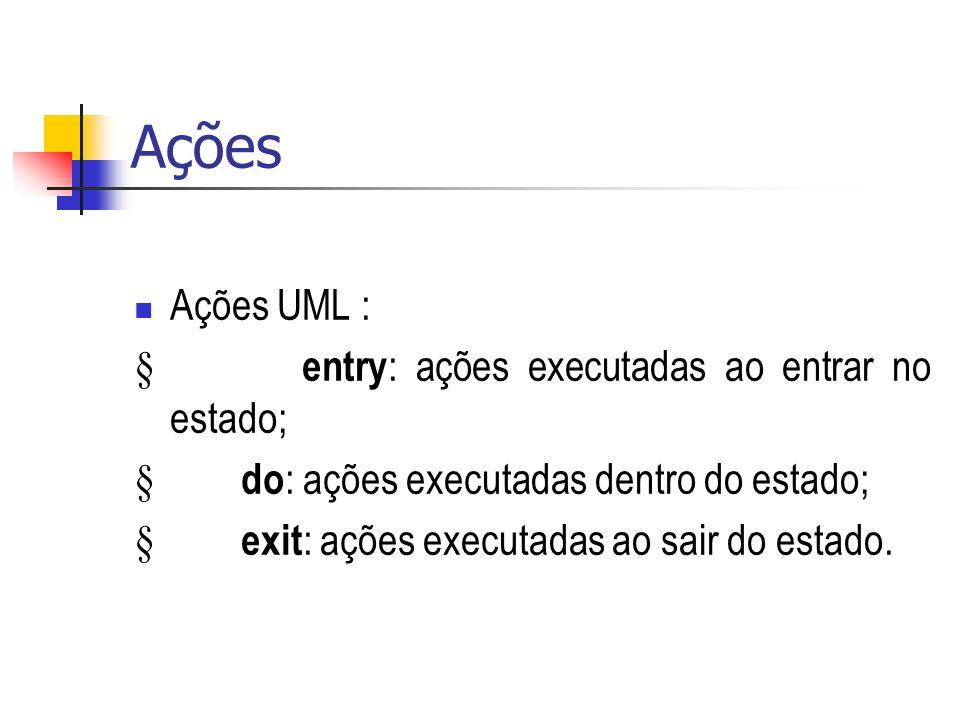 Ações Ações UML : § entry: ações executadas ao entrar no estado;