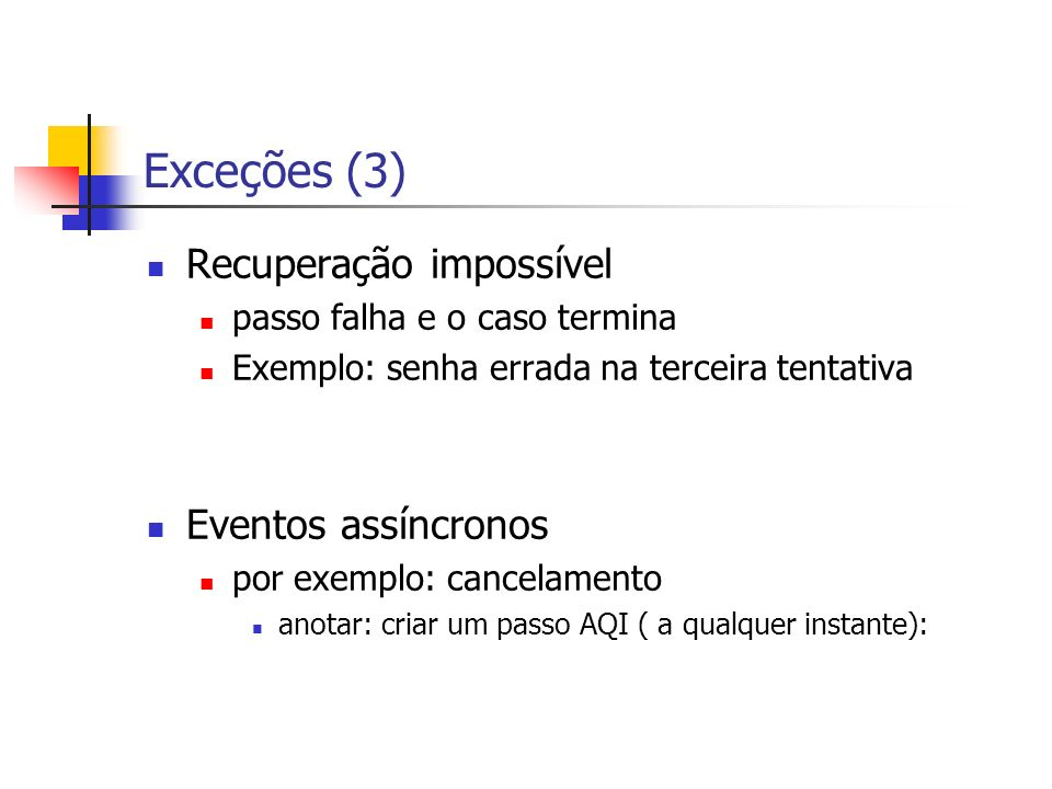 Exceções (3) Recuperação impossível Eventos assíncronos