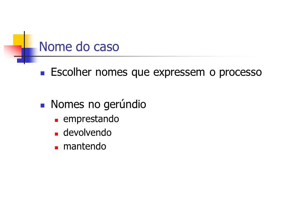 Nome do caso Escolher nomes que expressem o processo Nomes no gerúndio