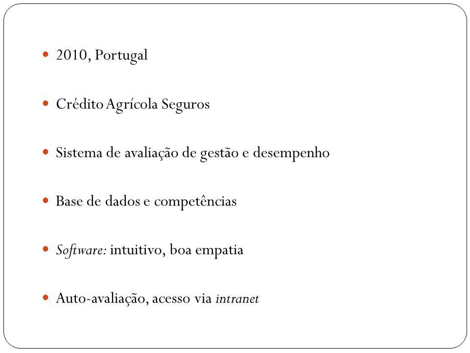 2010, Portugal Crédito Agrícola Seguros. Sistema de avaliação de gestão e desempenho. Base de dados e competências.