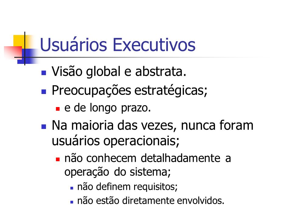 Usuários Executivos Visão global e abstrata.