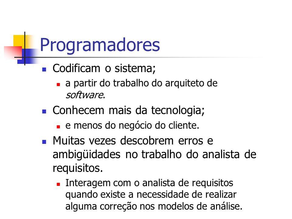 Programadores Codificam o sistema; Conhecem mais da tecnologia;