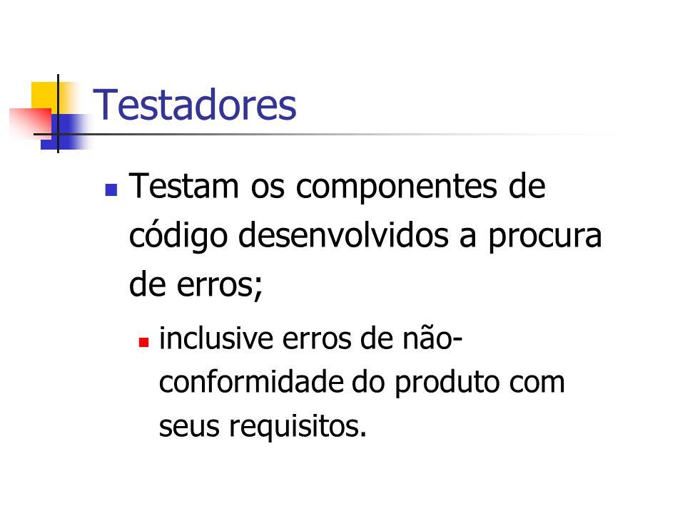 TestadoresTestam os componentes de código desenvolvidos a procura de erros; inclusive erros de não-conformidade do produto com seus requisitos.