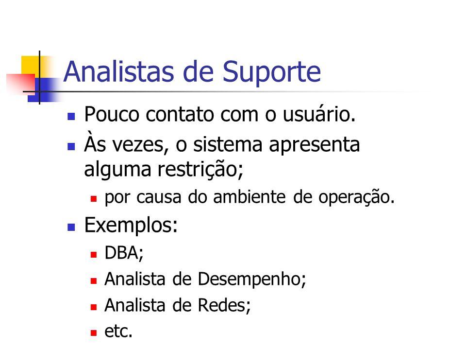 Analistas de Suporte Pouco contato com o usuário.