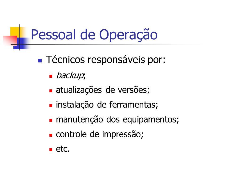Pessoal de Operação Técnicos responsáveis por: backup;