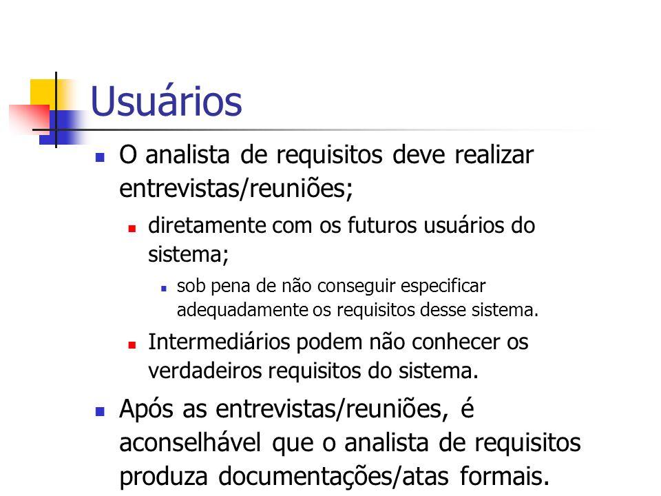 Usuários O analista de requisitos deve realizar entrevistas/reuniões;