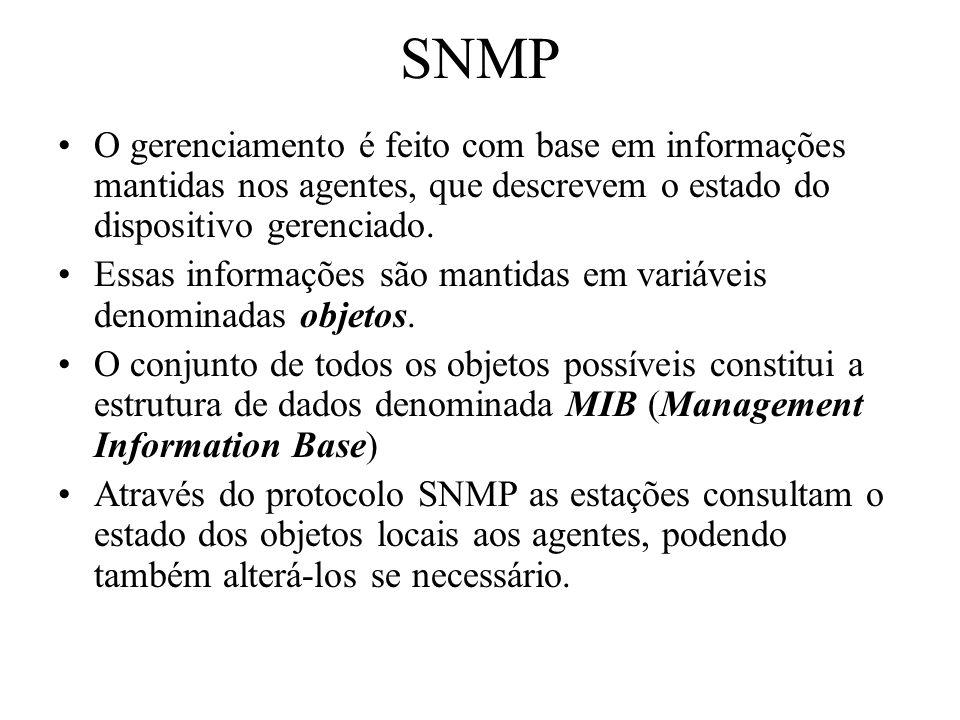 SNMPO gerenciamento é feito com base em informações mantidas nos agentes, que descrevem o estado do dispositivo gerenciado.