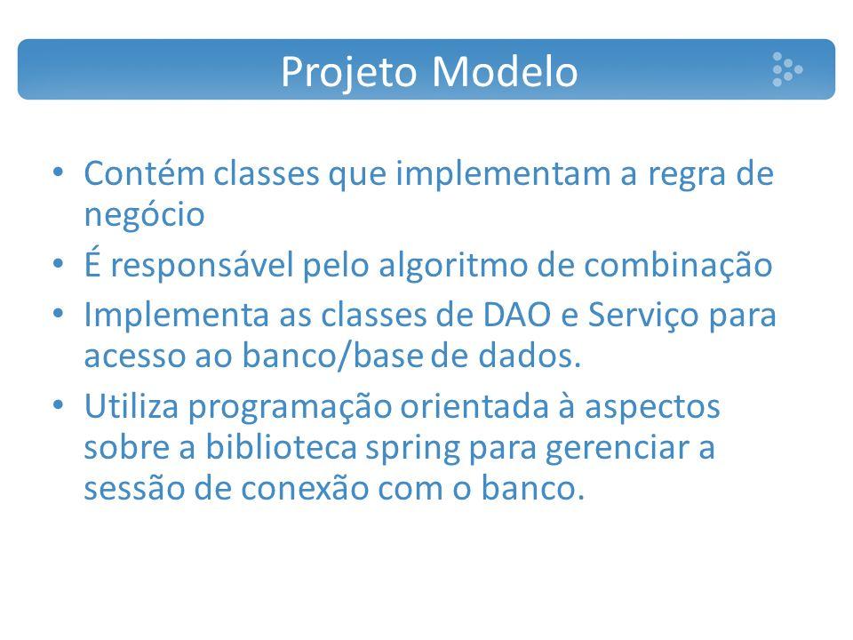 Projeto Modelo Contém classes que implementam a regra de negócio